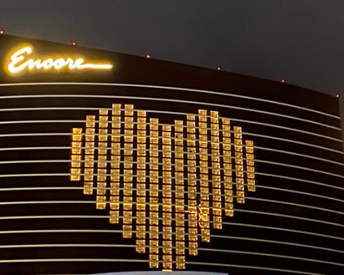 Encore heart window art lockdown in Las Vegas