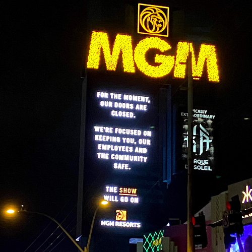 Las Vegas MGM sign during lockdown