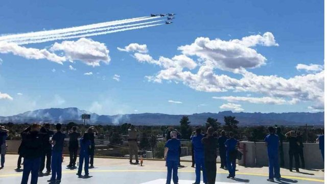 Thunderbirds flying over Las Vegas during Lockdown