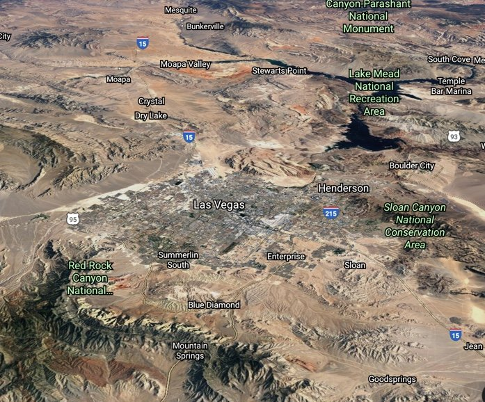 Google Earth Las Vegas Valley and beyond