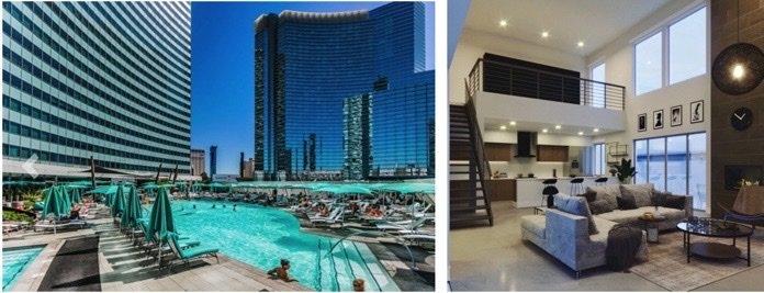 Pool, condo, high rise loft interior, people in pool