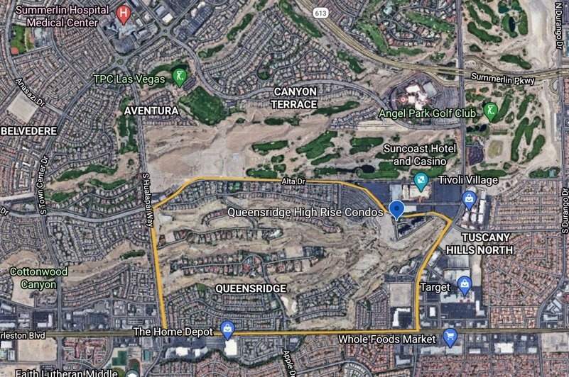 Google Earth Map outlining Queensridge in Las Vegas Nevada