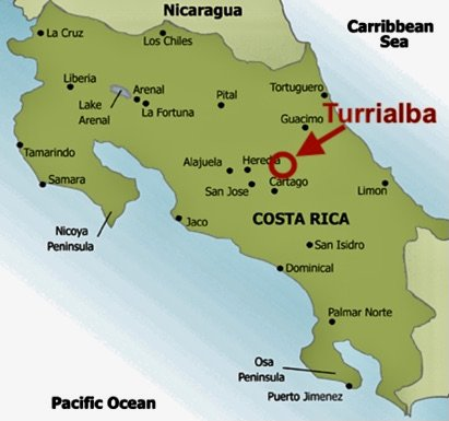 map of Costa Rica with ocean sea and attached countries