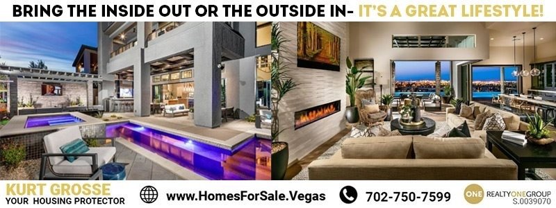 Las Vegas homes for sale with a pool when Buying new construction homes bring outside in and inside out with pools and patios
