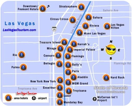 Map marking hotels on the strip