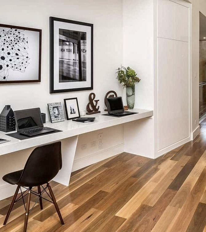 student monochrome workspace with wood natural wood floor