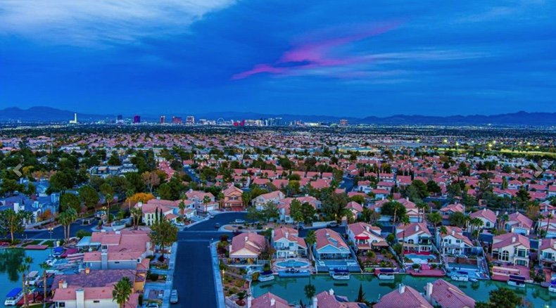 Waterfront homes for sale in Las Vegas aerial of homes and water canals